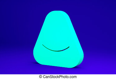 Green Pouf icon isolated on blue background. Soft chair. Bag for the seat. Comfortable furniture armchair. Minimalism concept. 3d illustration 3D render.