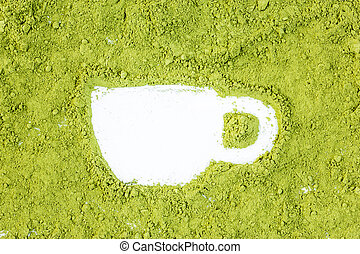 green powder forming cup shape surface close up isolated on white background