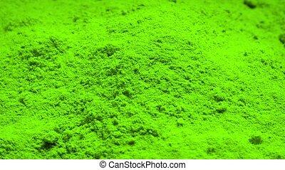 Green Powder Rotating - Pile of green powder turning slowly