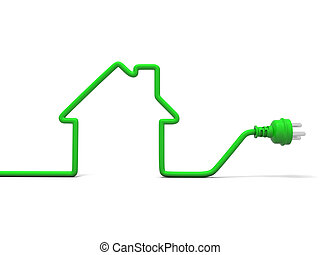 Green power - 3d stylized house made with electric cable