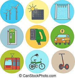 Green power and eco transport icons