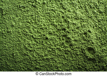 Green power background. Wallpaper of barley grass powder.