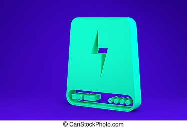Green Power bank icon isolated on blue background. Portable charging device. Minimalism concept. 3d illustration 3D render