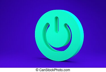 Green Power button icon isolated on blue background. Start sign. Minimalism concept. 3d illustration 3D render