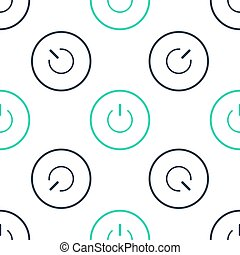 Green Power button icon isolated seamless pattern on white background. Start sign. Vector