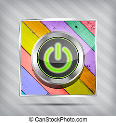 green power button icon on the colorful wooden striped background