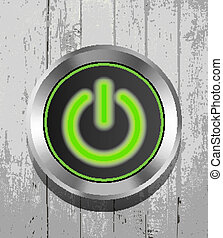 green power button icon on the wood