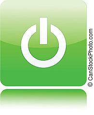 Green power button on white (Power On)