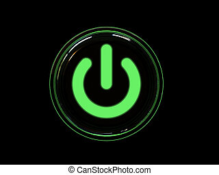 Green power button isolated on black background. High...