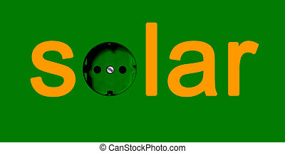 Green Power Electricity Concept: Word Solar With A Power ...