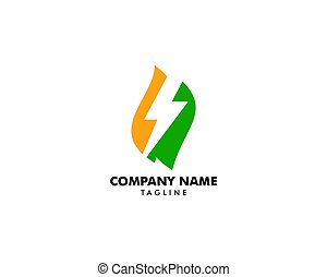 Green Power Energy Logo Design Element