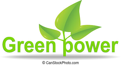 Green power illustration and logo isolated over white