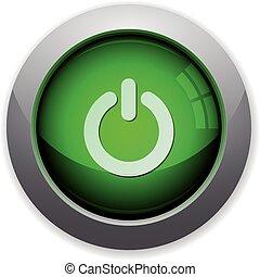 Green power off button
