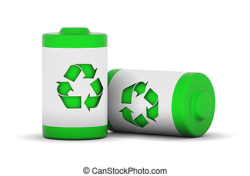 Green Power - Two batteries with recycle logo