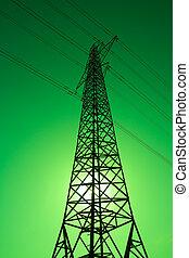 Green Power - Sun shining behind an electricity pylon. Green...