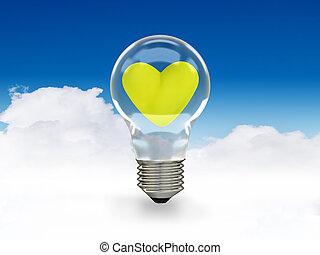 green power - green heart in bulb