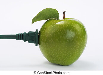 Green Power. - Apple with electric plug