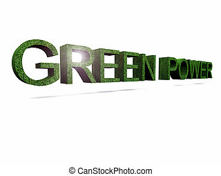 green power - the word green power in 3 d letters