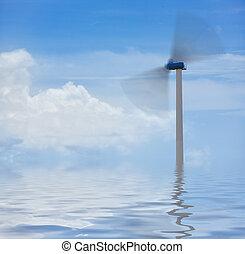 Green power - Environmental concept, wind turbine on blue...