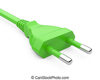 Green power plug isolated on white background. Green Energy...