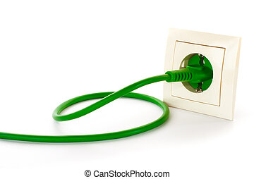 Green power plug into power outlet against a white...
