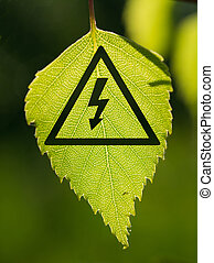 Green Power - high voltage sign with leaf