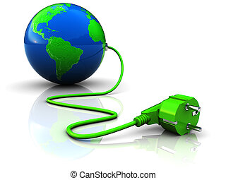 green power - abstract 3d illustration of earth globe with...
