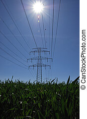 green power - green field with stream power poles and sun...