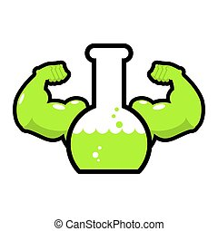 Green powerful mutagen. Strong chemical flask. Beaker with muscles. Liquid anabolics with big hands. fluid Steroids for bodybuilding
