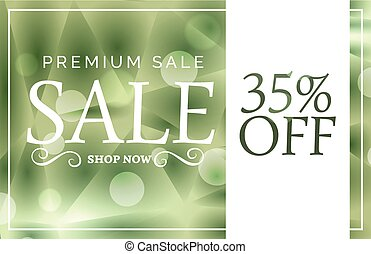 green premium sale banner or voucher design template with offer details