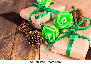 Green presents wrapped in paper