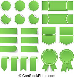 Green Price Tags, Stickers, Banners
