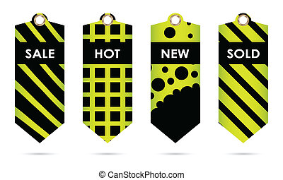 green price tags with special black design