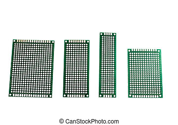 Green prototyping board in a row isolated on white background