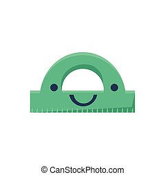 Green Protractor Primitive Icon With Smiley Face