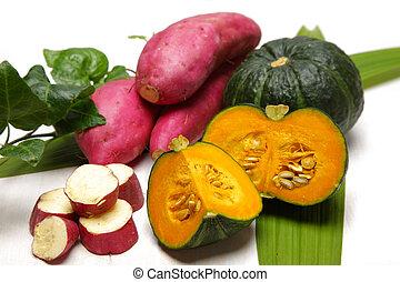 green pumpkins and sweet potatoes - studio shot of green...