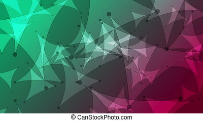 Green purple abstract low poly video animation