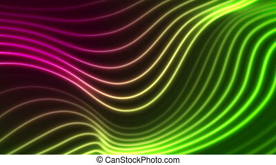 Green purple neon curved wavy lines video animation