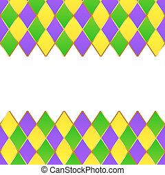 Green, purple, yellow grid Mardi gras frame - Green, purple...