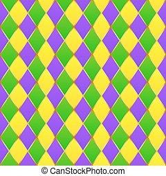 Green, purple, yellow grid Mardi gras seamless vector pattern