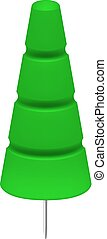 Green push pin in shape of tree