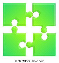 Green puzzle icon, cartoon style