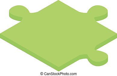 Green puzzle icon, isometric style