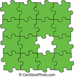 green puzzle piece assembly with one piece missing