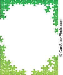 green puzzle pieces border template illustration