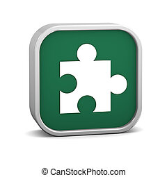 Green puzzle Sign - Green puzzle sign on a white background....