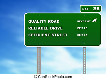 Green Quality, Reliable, Efficient Highway Sign on Cloud Background.