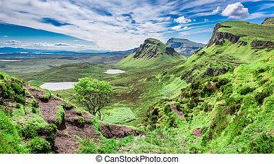 Green Quiraing in Isle of Skye, Scotland, United Kingdom