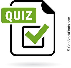 Green quiz icon isolated on white background