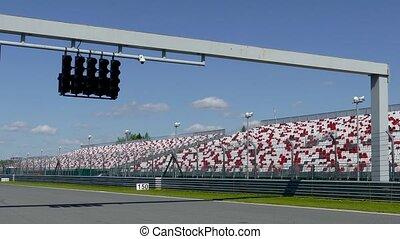 Raceway Traffic lights on pit line - Green Raceway Traffic...